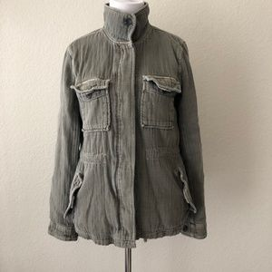 James Perse Twill Cotton Utility Jacket Button M